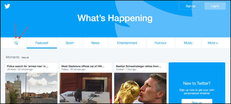 Screenshot of the Twitter homepage with two red arrows pointing towards the search button.