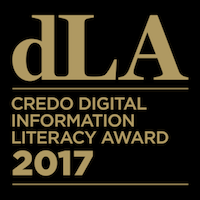 Gold text on black background, reads: dLA Credo Digital Information Literacy Award 2017